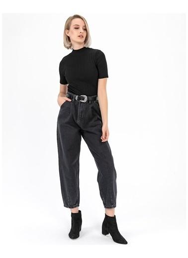 Tiffany&Tomato Pens Detay Mom Jean Pantolon - Mavi Siyah